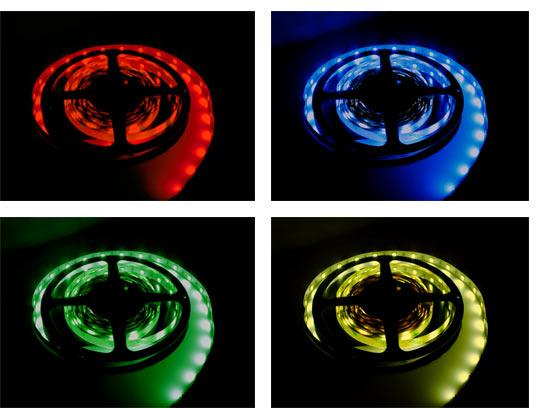 RGB-светодиодная лента меняет свой цвет